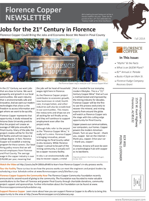 Florence Copper Community Newsletter