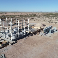 Walls of Florence Copper Solvent Extraction and Electrowinning Process Plant (SX/EW) being erected (April 4, 2018)