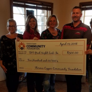 Florence Copper Community Foundation presenting a grant check to Toby Haugen, principal at Florence High School for Graduation Lock In Night