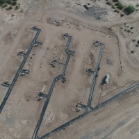 Florence Copper Production Test Facility well-field, including 4 Injection wells and 9 recovery wells, in addition to other monitoring wells for the in-situ copper recovery process. (July 27, 2018)