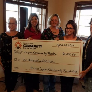 Florence Copper Community Foundation board members presenting a check to Kelli Kent representing Arizona Community Theatre